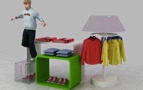 服饰区域道具-童装流水台