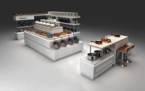 百货区域道具-厨具情景展示台